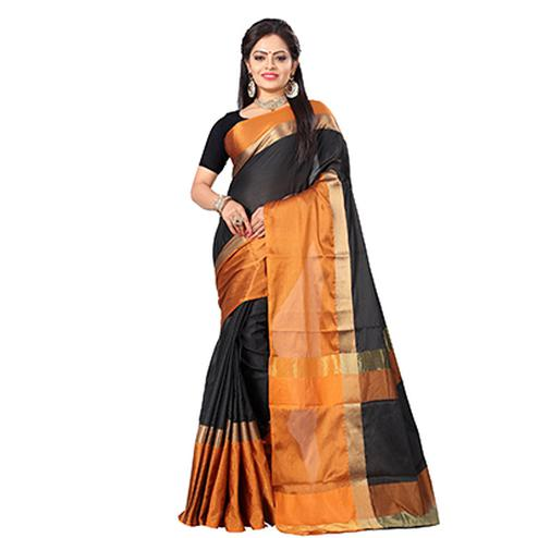 Adorable Black-Orange Colored Festive Wear Art Silk Saree