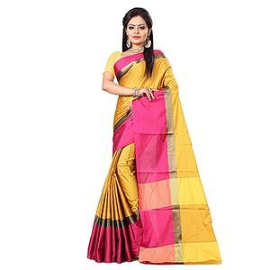 Gorgeous Yellow-Pink Colored Festive Wear Art Silk Saree
