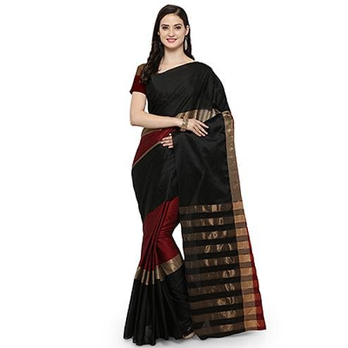 Classy Black-Maroon Colored Festive Wear Art Silk Saree