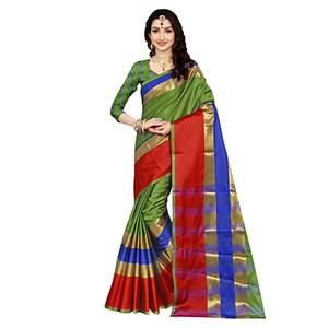Glorious Green Colored Festive Wear Art Silk Saree