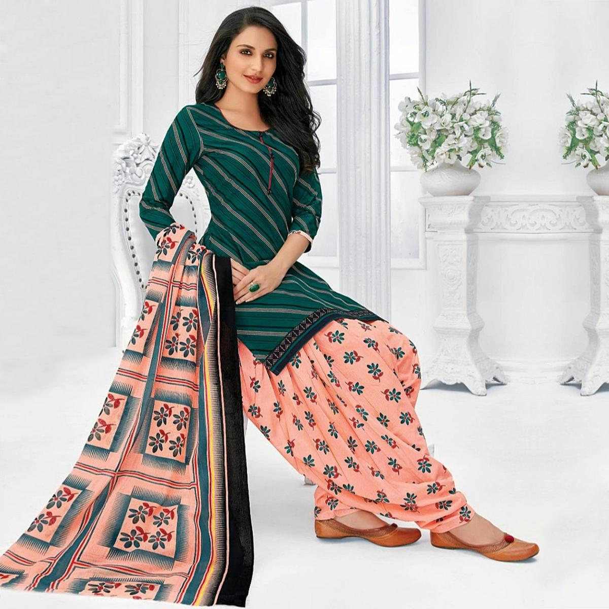 Ideal Green Colored Casual Wear Printed Cotton Stitched Patiala Suit