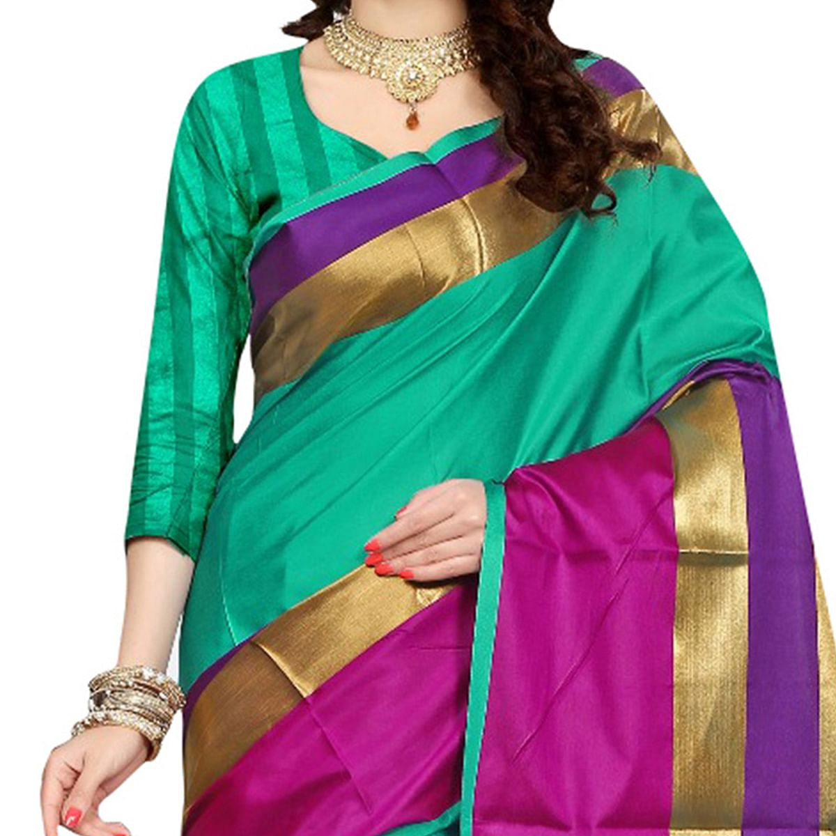 Graceful Turquoise Green Colored Festive Wear Art Silk Saree