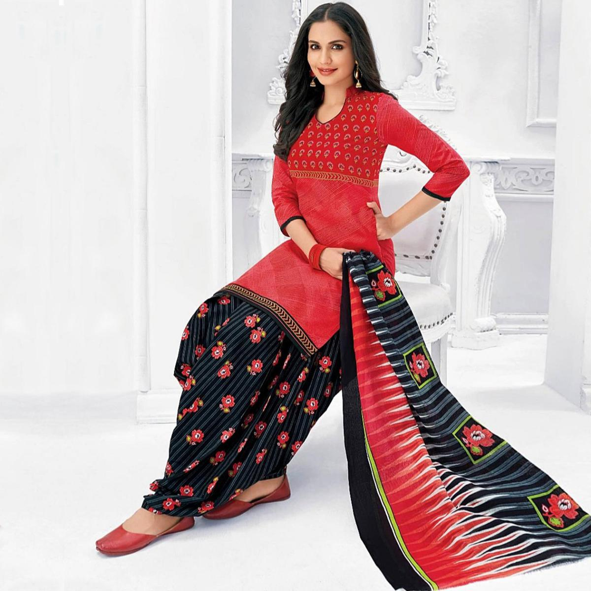 Ethnic Dark Peach Colored Casual Wear Printed Cotton Stitched Patiala Suit