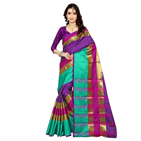 Lovely Purple Colored Festive Wear Art Silk Saree