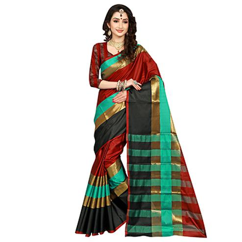 Pretty Maroon Colored Festive Wear Art Silk Saree