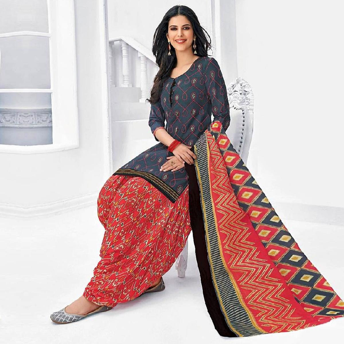 Mesmeric Dark Grey Colored Casual Wear Printed Cotton Stitched Patiala Suit