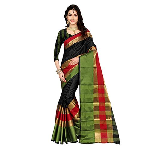 Divine Black Colored Festive Wear Art Silk Saree