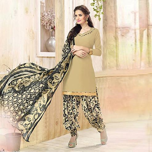 Beautiful Beige Colored Casual Wear Printed Heavy Crepe Patiala Dress Material