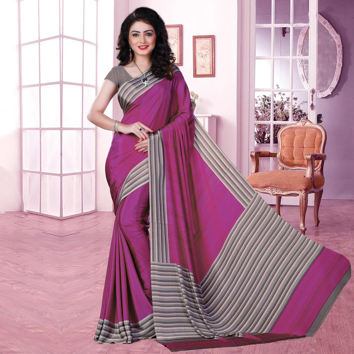 Classy Pink Coloured Casual Wear Printed Crepe Saree