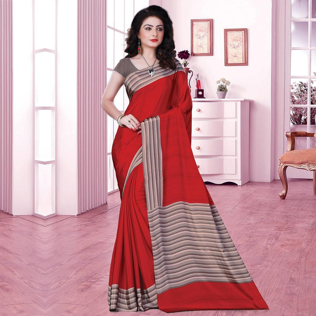 Adorning Red Coloured Casual Wear Printed Crepe Saree