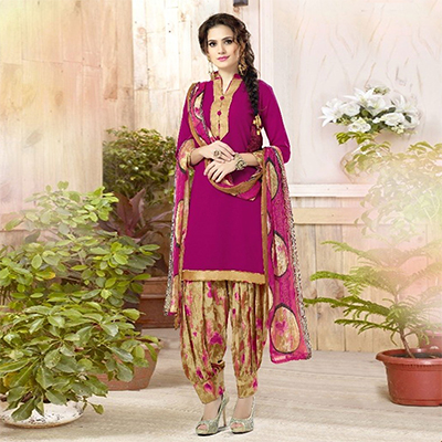Mesmerising Pink Colored Casual Wear Printed Heavy Crape Patiyala Dress Material