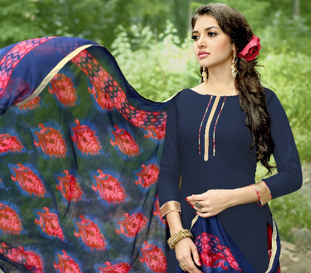 Charming Navy Blue Colored Casual Wear Printed Heavy Cotton Patiyala Dress Material