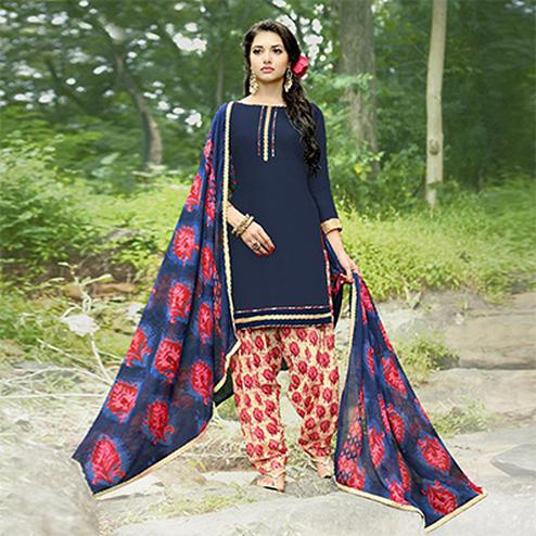Charming Navy Blue Colored Casual Wear Printed Heavy Cotton Patiala Dress Material