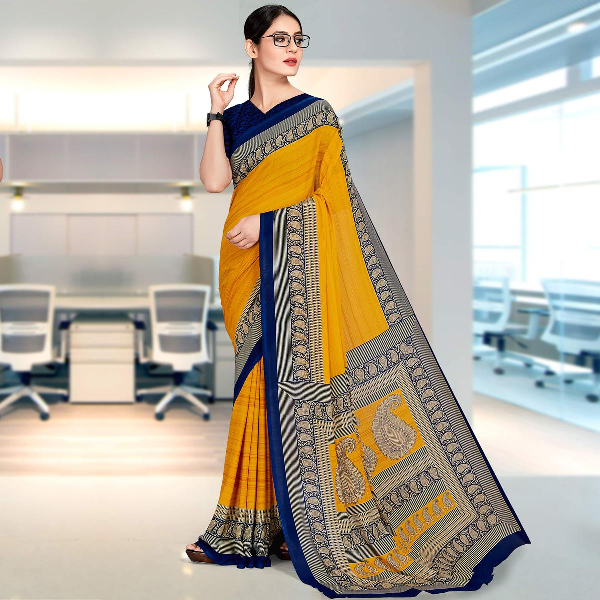 Dazzling Mustard Coloured Casual Wear Printed Georgette Saree