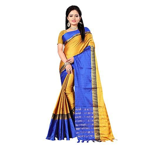Desirable Yellow-Blue Colored Festive Wear Cotton Silk Saree With Tassels