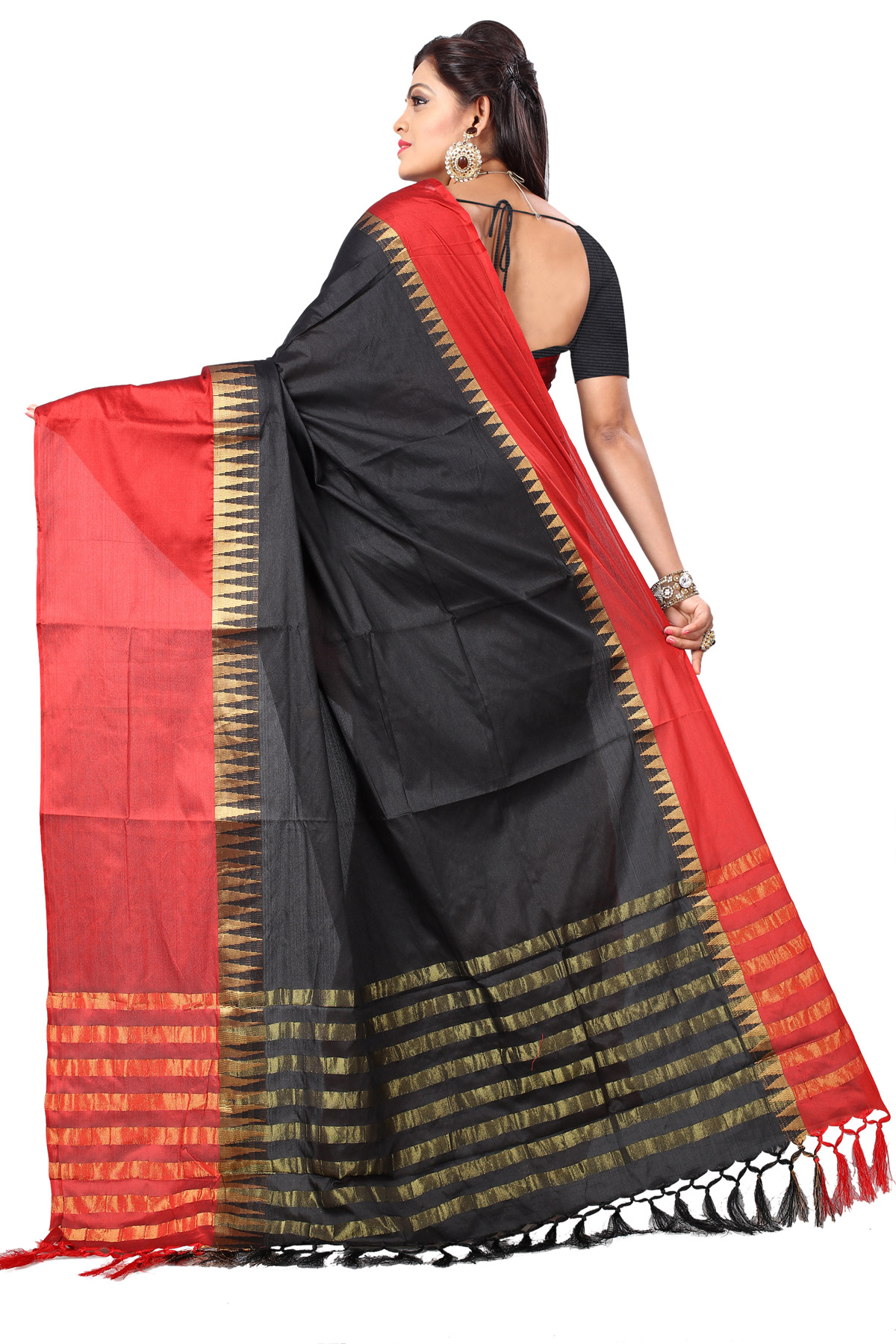 Alluring Black-Red Colored Festive Wear Cotton Silk Saree With Tassels