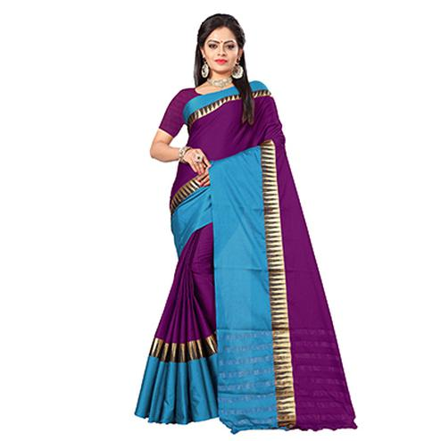 Glorious Purple-Blue Colored Festive Wear Cotton Silk Saree With Tassels