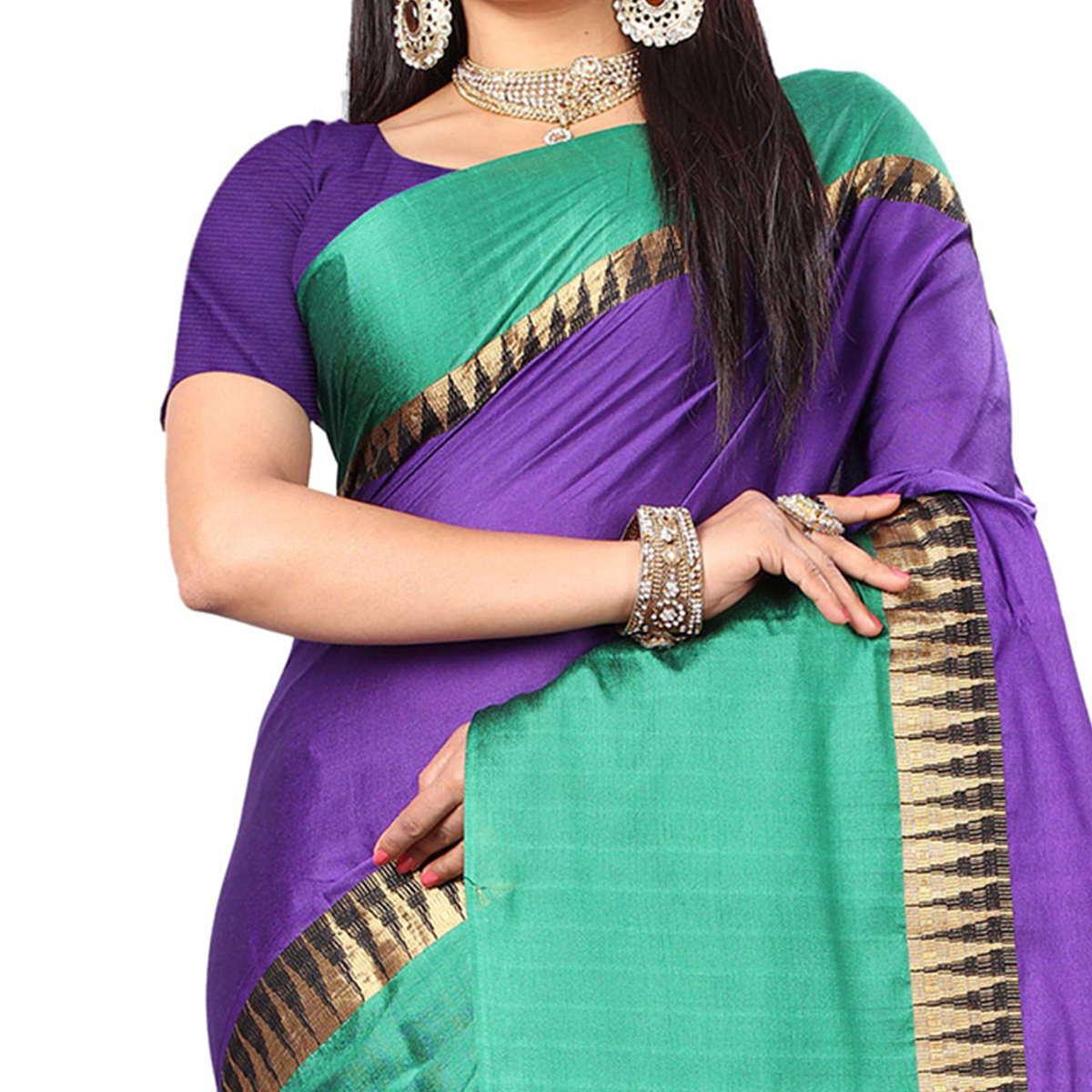 Beautiful Purple-Green Colored Festive Wear Cotton Silk Saree With Tassels