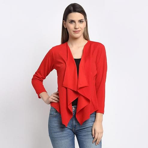 Aujjessa - Red Colored Casual Solid Poly Cotton Shrug
