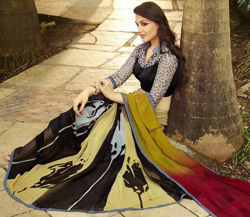 Mustard Yellow - Red Printed Saree