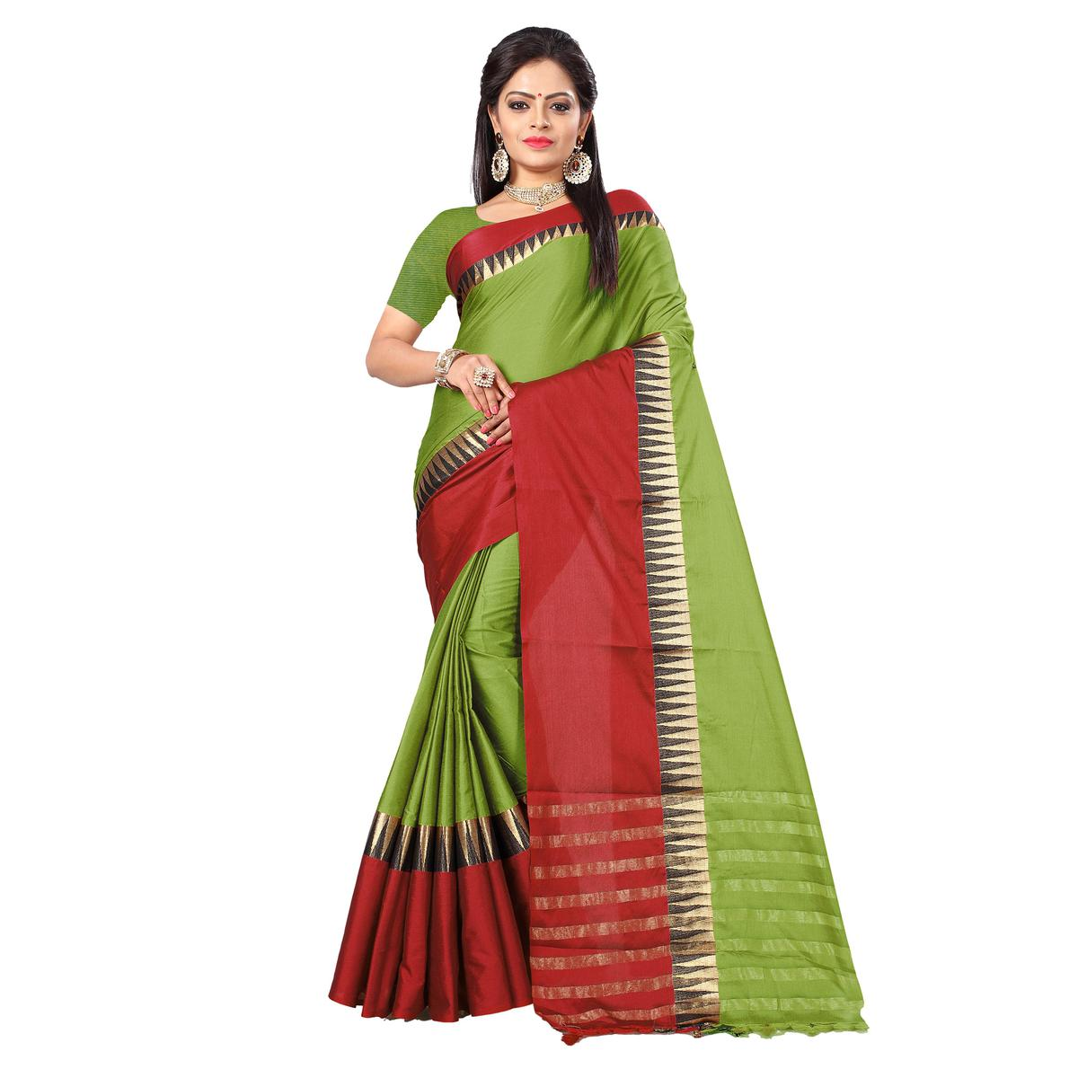Graceful Green-Red Colored Festive Wear Cotton Silk Saree With Tassels