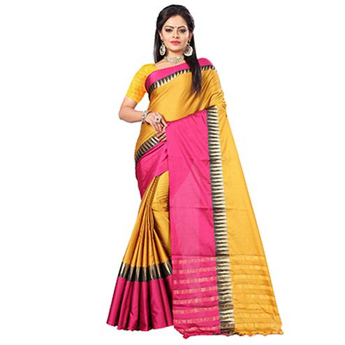 Ravishing Yellow-Pink Colored Festive Wear Cotton Silk Saree With Tassels