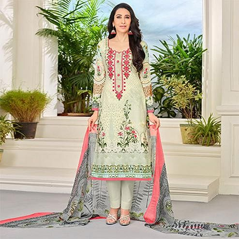 Light Green Self Embroidered Cotton Dress Material