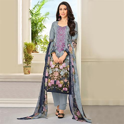Grey Self Embroidered Cotton Dress Material