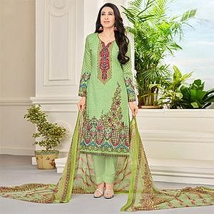 Green Self Embroidered Cotton Dress Material
