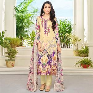 Cream Self Embroidered Cotton Dress Material