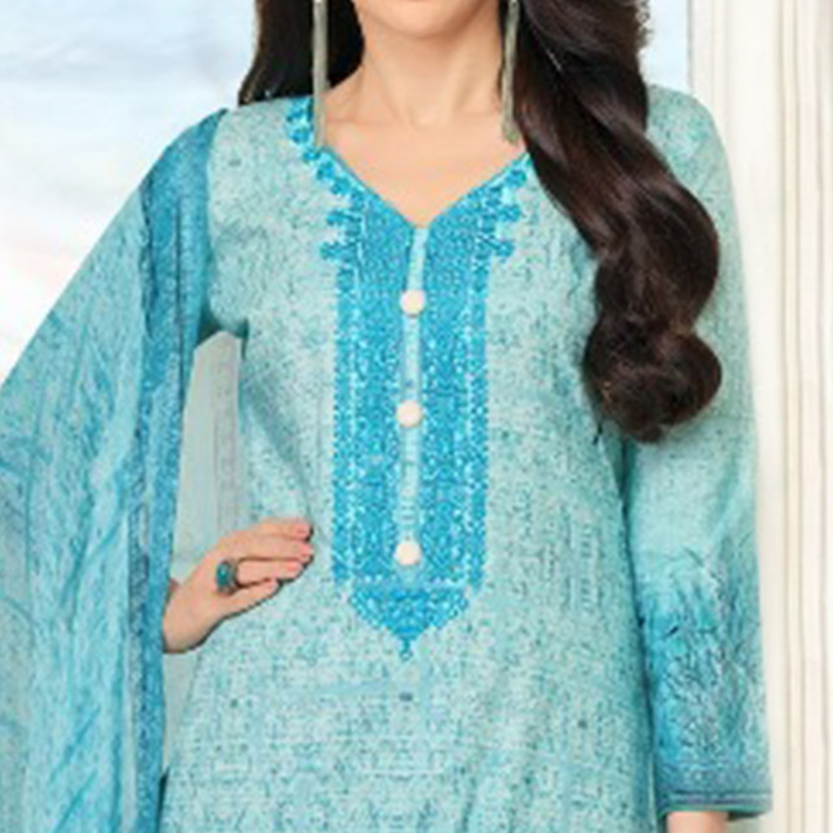 Blue Self Embroidered Cotton Dress Material