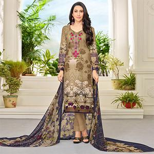 Dark Beige Self Embroidered Cotton Dress Material