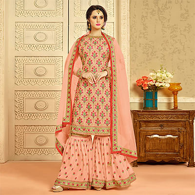 Glorious Peach Designer Embroidered Faux Georgette Palazzo Suit