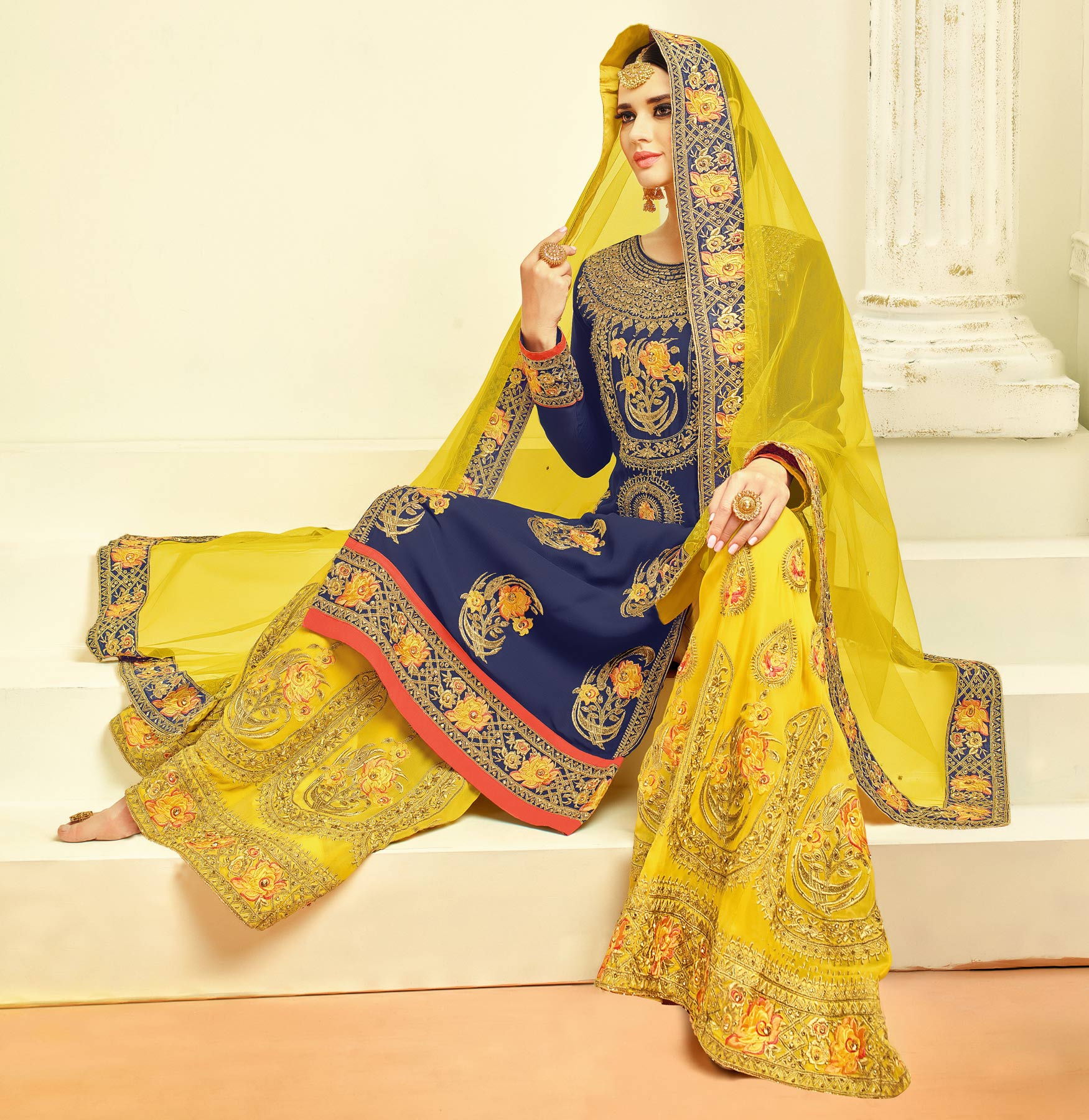 Charming Blue - Yellow Designer Embroidered Faux Georgette Palazzo Suit