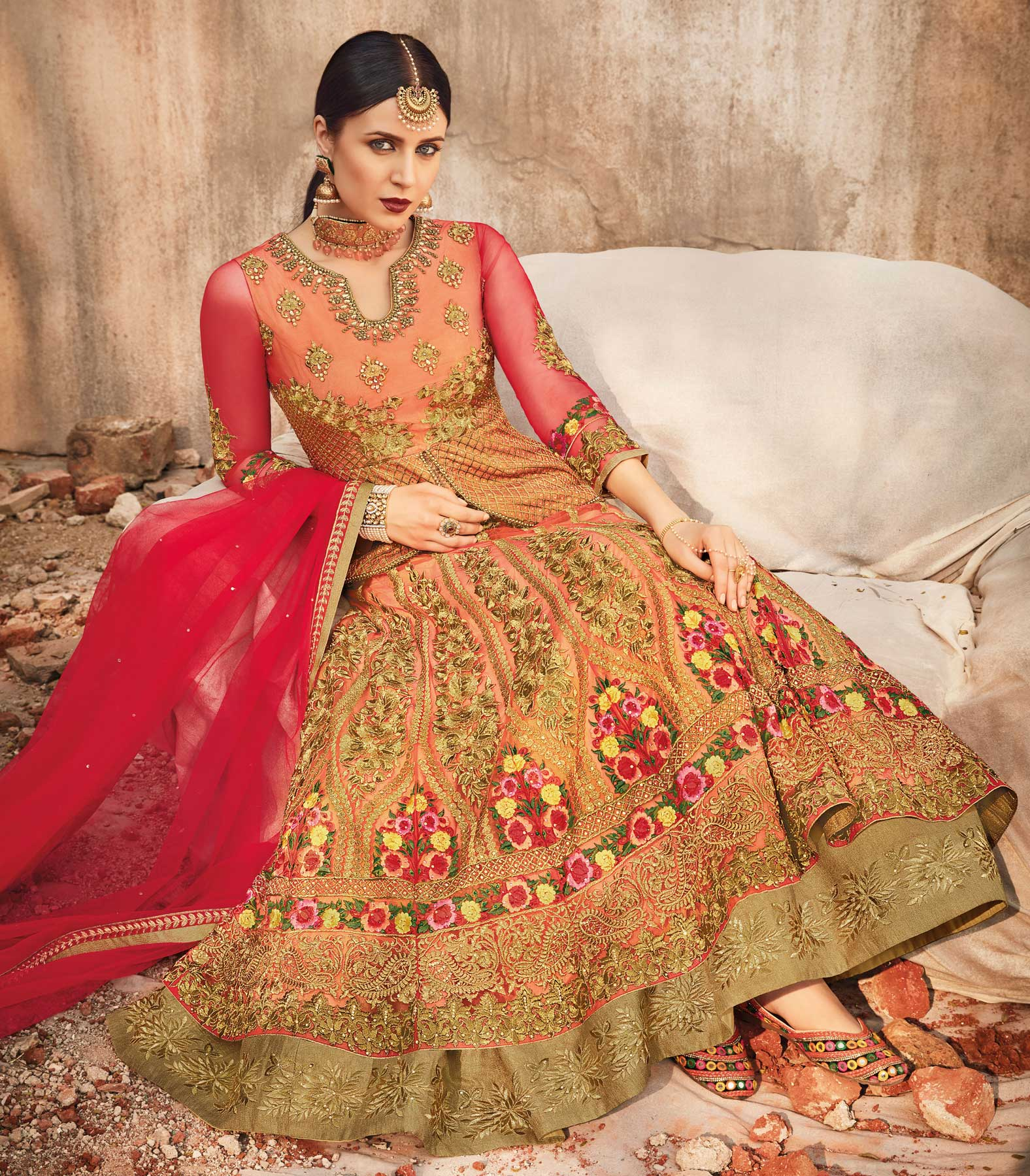 Appealing Orange Designer Embroidered Velvet-Net Lehenga / Anarkali