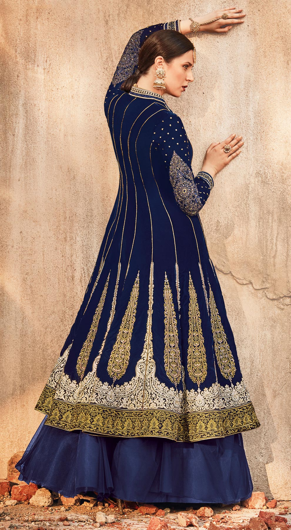 Ravishing  Navy Blue Designer Embroidered Velvet-Net Lehenga /Anarkali