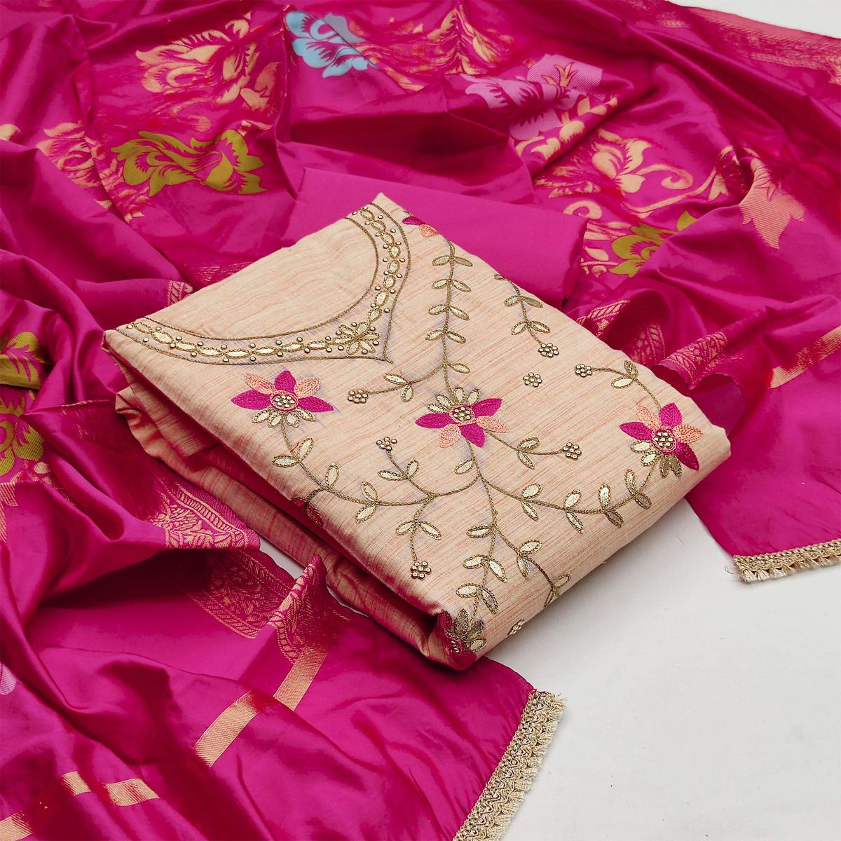 Glorious Light Peach Colored Festive Wear Embroidered Handloom Cotton Dress Material