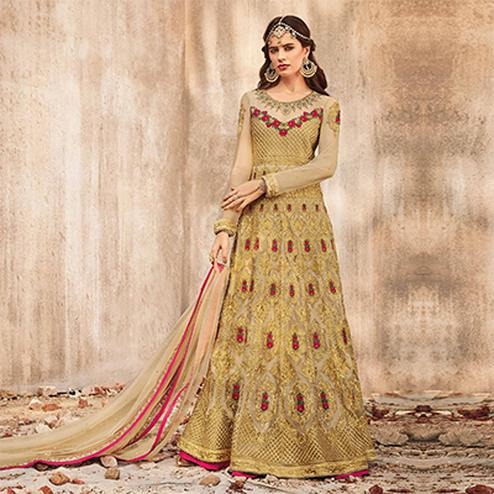 Gorgeous  Beige Designer Embroidered Velvet-Net Lehenga /Anarkali