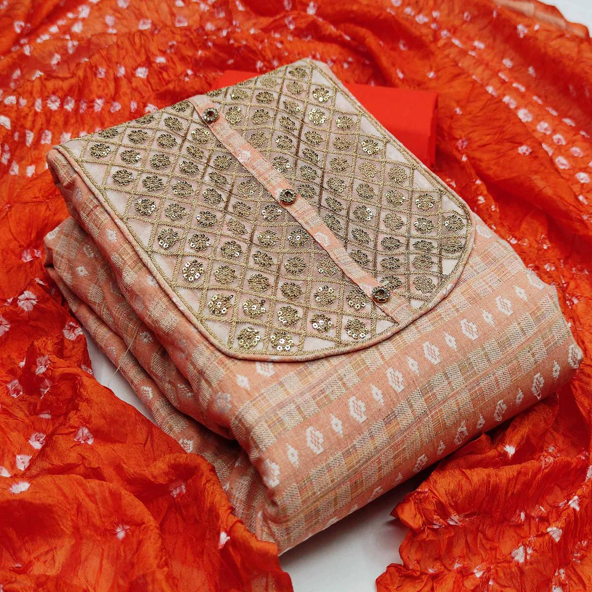 Innovative Peach Colored Partywear Embroidered Handloom Cotton Dress Material