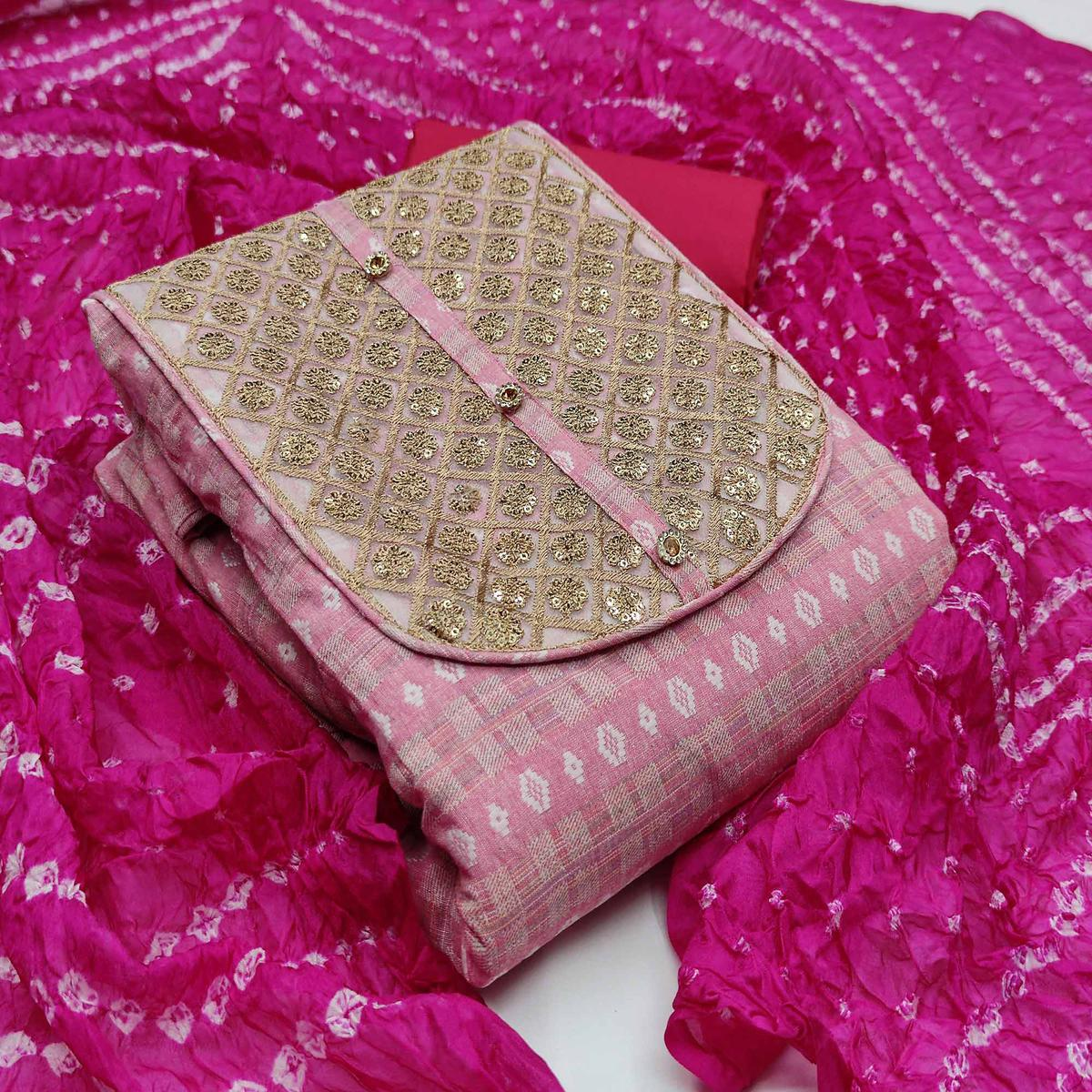 Eye-catching Pink Colored Partywear Embroidered Handloom Cotton Dress Material