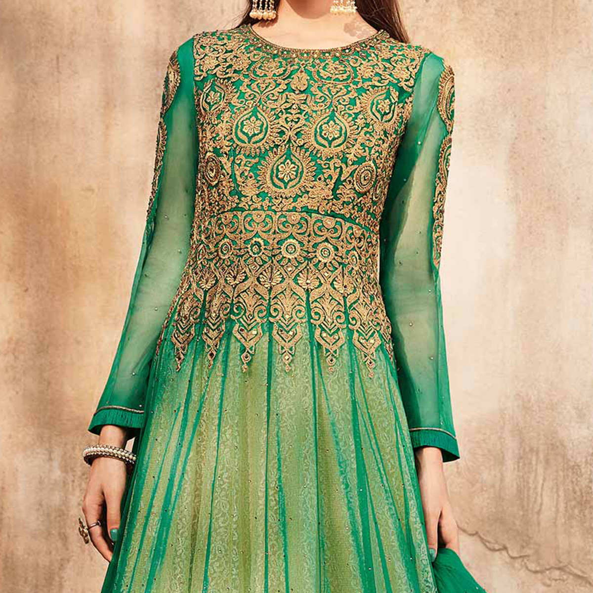 Sizzling  Green Designer Embroidered Velvet-Net Anarkali Suit