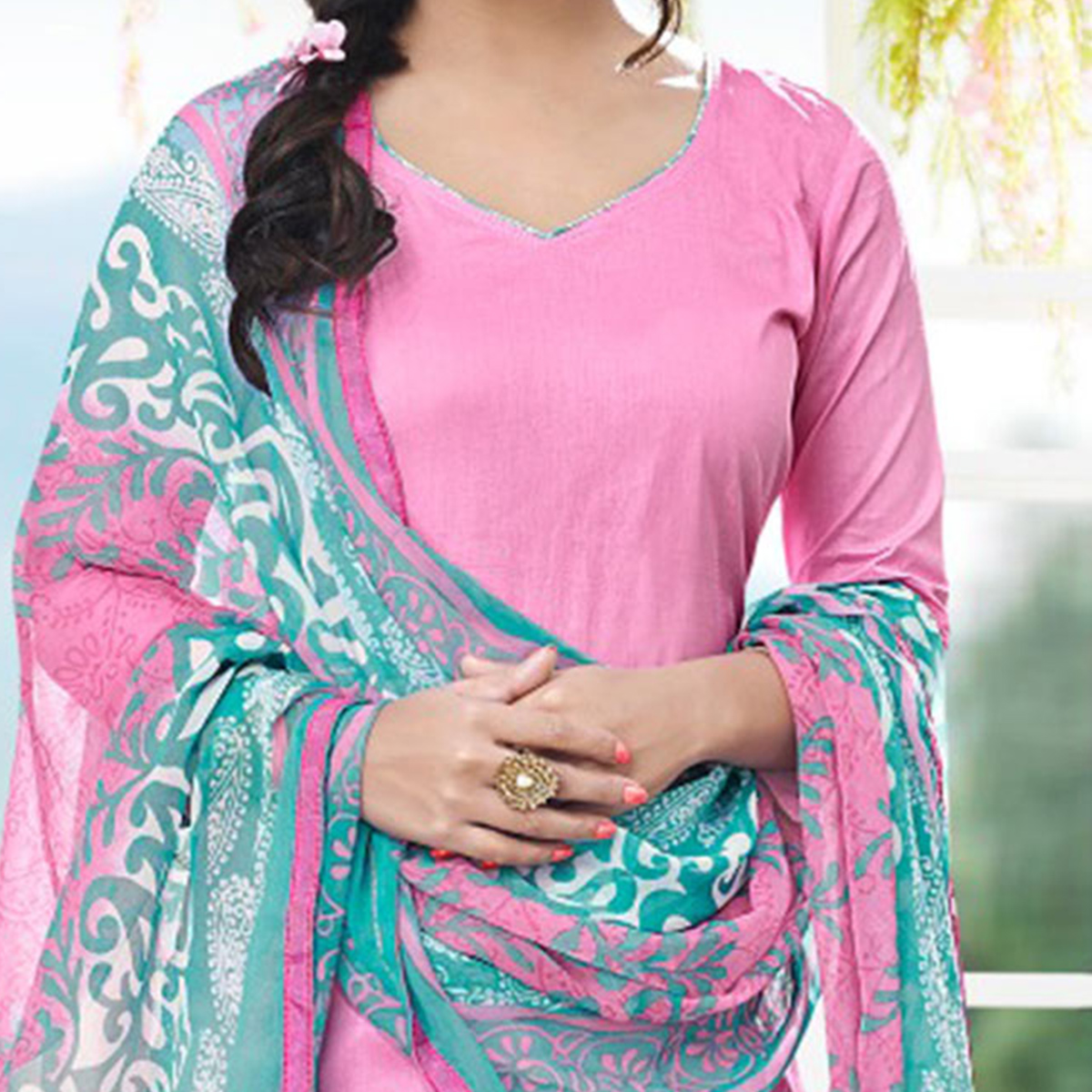 Pink - Blue Casual Wear Printed Cotton Dress Material