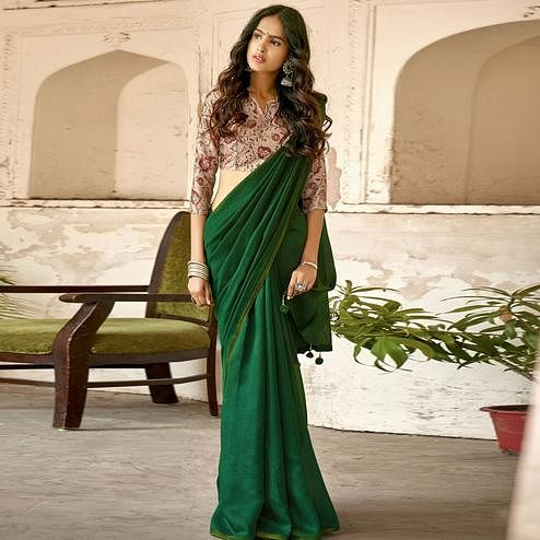Triveni Green Colored Chanderi Silk Solid Saree With Blouse Piece
