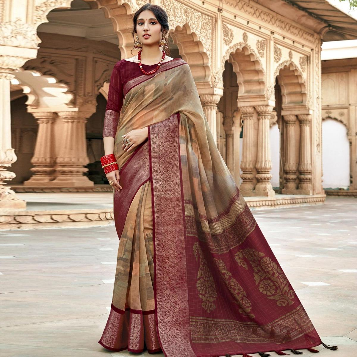 Triveni Beige & Maroon Colored Cotton Silk Printed Saree With Blouse Piece