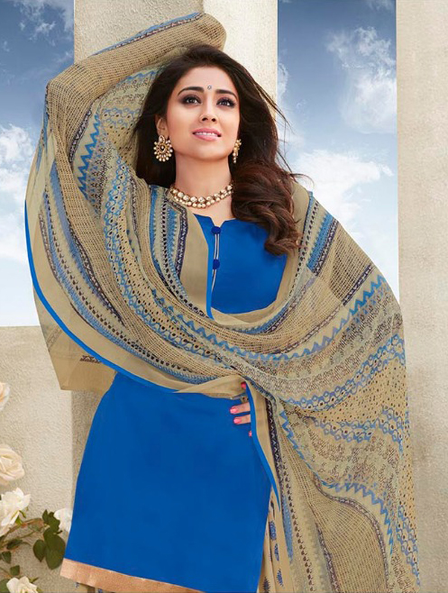 Blue - Beige Casual Wear Printed Cotton Dress Material