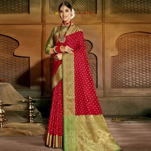 Triveni Red Colored Silk Jacquard Saree With Blouse Piece