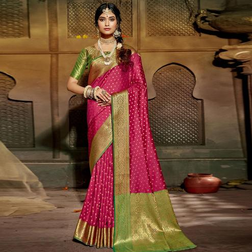 Triveni Pink Colored Silk Jacquard Saree With Blouse Piece