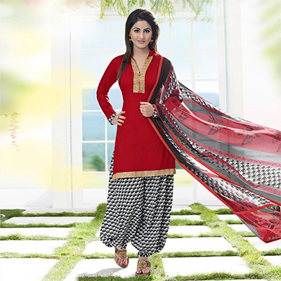 Red - Black Casual Wear Printed Cotton Dress Material
