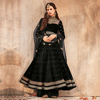 Dazzling  Black Designer Embroidered Velvet-Net Anarkali Suit