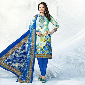 Off White - Blue Casual Wear Printed Jetpur Cotton Dress Material